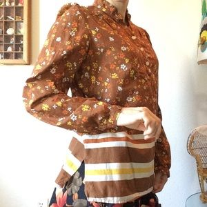Vintage 70's Built By Wendy Long Sleeve Blouse